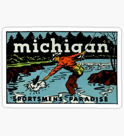 Michigan Sportsman's Paradise Vintage Travel Decal Sticker