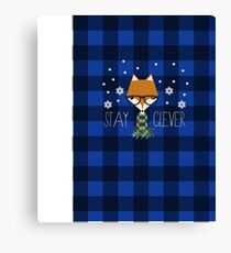 Stay Clever Winter Fox Canvas Print