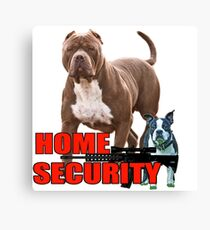 Pit bull Boston terrier security Canvas Print