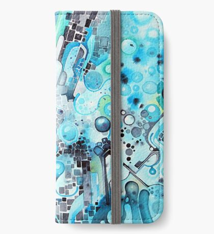 Water Crystals - Abstract Geometric Watercolor Painting iPhone Wallet
