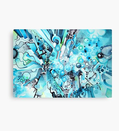 Water Crystals - Abstract Geometric Watercolor Painting Canvas Print