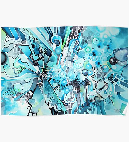 Water Crystals - Abstract Geometric Watercolor Painting Poster