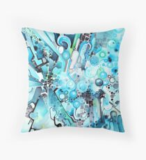 Water Crystals - Abstract Geometric Watercolor Painting Throw Pillow