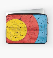 Archery target close up with many arrow holes in  Laptop Sleeve
