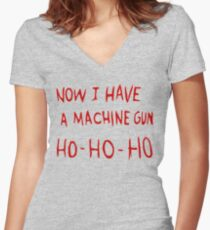 Die Hard Now I Have a Machine Gun Women's Fitted V-Neck T-Shirt