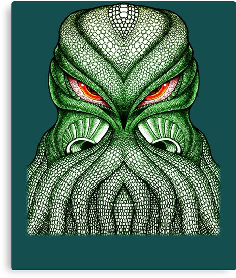 Cthulhu Kraken Green Sea Monster Red Evil Bloodshot Eyes Canvas