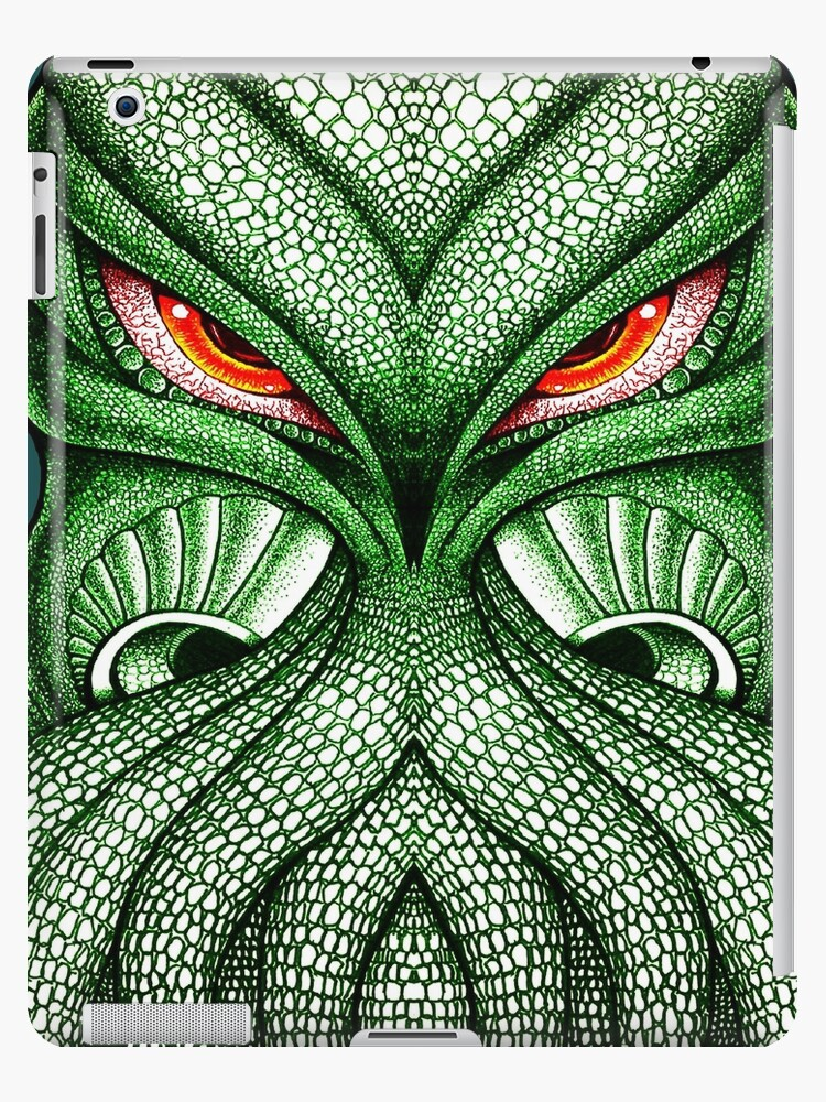 Cthulhu Kraken Green Sea Monster Red Evil Bloodshot Eyes IPad