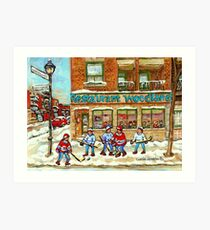BEST SELLING MONTREAL PRINTS RESTAURANT WOODLAND VERDUN WINTER HOCKEY SCENE Art Print