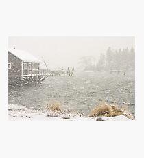 Heavy Snowstorm in Bass Harbor, Mount Desert island, Maine Photographic Print