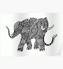 Snakelephant Indian Ink Hand Draw Poster