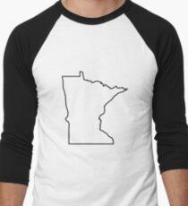 Minnesota Outline Illustration Men's Baseball ¾ T-Shirt