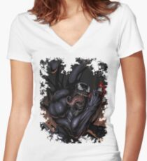 Spider and Venom, man. Women's Fitted V-Neck T-Shirt