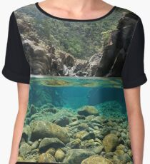 Rocks over under the water river Women's Chiffon Top