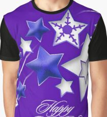 Blue and Purple Happy New Year Shooting Stars  Graphic T-Shirt