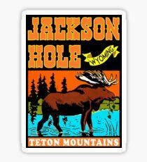 JACKSON HOLE WYOMING TETON VINTAGE MOUNTAINS MOOSE MOUNTAINS SKIING SKI Sticker
