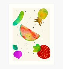 Watercolor Fruits and Vegetables Art Print