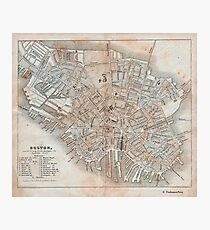 Maps: Antique 1837 Street Map of Boston Photographic Print