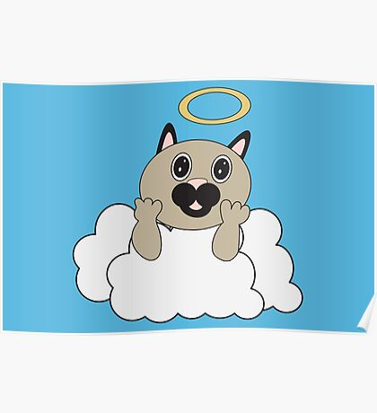 Angel Cat on Cloud Poster