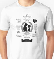 "Pride and Prejudice Elizabeth and Darcy ""Iconic Quotes"" Silhouette Design  Unisex T-Shirt"
