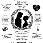 """Pride and Prejudice Elizabeth and Darcy """"Iconic Quotes"""" Silhouette Design  by Marianne Paluso"""