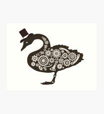 Steampunk victorian swan Art Print
