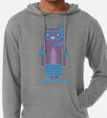 Snorkel Swimmer Cat Pixel Art Lightweight Hoodie