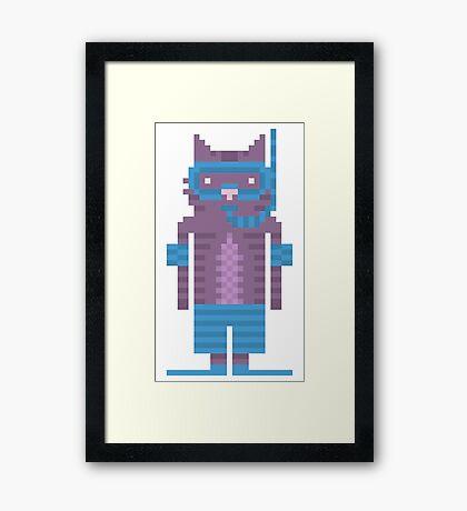 Snorkel Swimmer Cat Pixel Art Framed Print