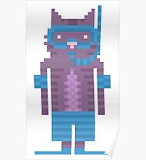 Snorkel Swimmer Cat Pixel Art Poster