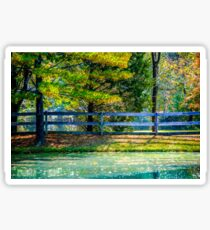 Autumn Scene With Pond and Fence Sticker
