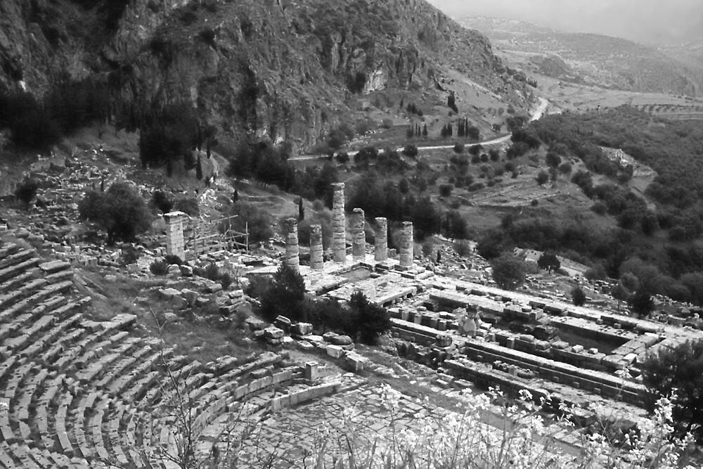Temple of Apollo and Theatre, Delphi 1960, B&W by Priscilla Turner