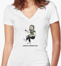 """Earnestly Hemming Away"" Women's Fitted V-Neck T-Shirt"
