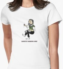 """""""Earnestly Hemming Away"""" Womens Fitted T-Shirt"""