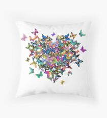 Colorful Butterflies Heart Throw Pillow