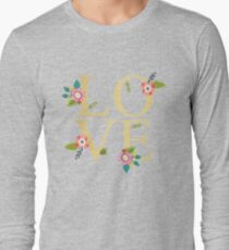 Love Gold And Floral on Grey T-Shirt