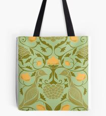 Partridges and Pomegranates Soft Green Tote Bag