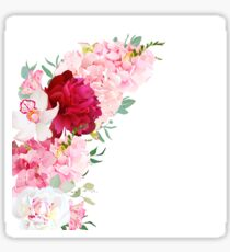 Luxury floral crescent shape vector frame with peony, alstroemeria lily, orchid, hydrangea, eucalyptus on white. Pink, white and burgundy red flowers. All elements are isolated and editable. Sticker