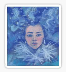 Snow girl, pastel painting Sticker