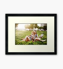 Two Beautiful Young Girls on Picnic Framed Print