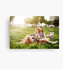 Two Beautiful Young Girls on Picnic Canvas Print