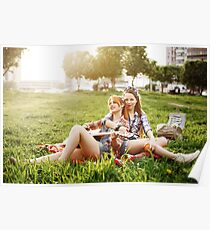 Two Beautiful Young Girls on Picnic Poster