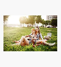 Two Beautiful Young Girls on Picnic Photographic Print