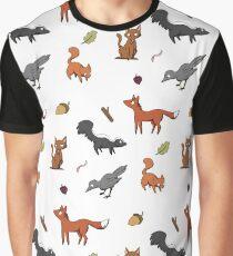 Woodland Animal Print (coloured) Graphic T-Shirt