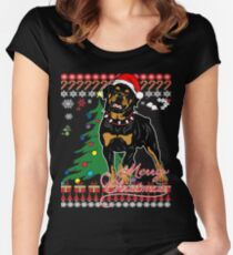 Ugly Christmas Sweater For Rottweiler Dog Lover Xmas Gift - Ladies T Shirt Women's Fitted Scoop T-Shirt
