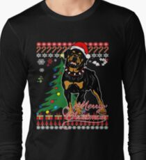Ugly Christmas Sweater For Rottweiler Dog Lover Xmas Gift - Ladies T Shirt T-Shirt