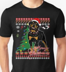 Ugly Christmas Sweater For Rottweiler Dog Lover Xmas Gift - Ladies T Shirt Unisex T-Shirt