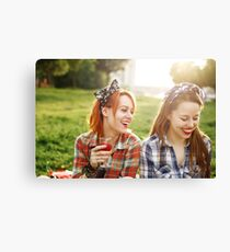 Two Young Happy Girls in Pin-Up Style Canvas Print