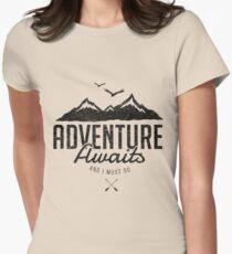 ADVENTURE AWAITS Women's Fitted T-Shirt