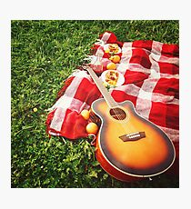Picnic with Guitar Music on Grass Photographic Print