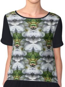 White Clematis Flowers Abstract Women's Chiffon Top