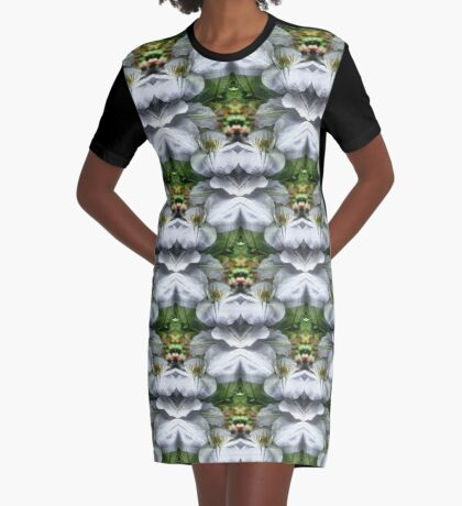 White Clematis Flowers Abstract Graphic T-Shirt Dress